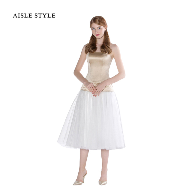 Aisle Style Vintage 1950s Bridesmaid Dresses Two Tone Detachable Satin Tulle Tea Length Wedding Party