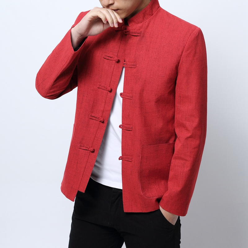 Red New Year Dress Mens 2018 Chinese Style Blazers Mens Stand Collar Blazers Masculino Traditional Chinese Garments Mandarin