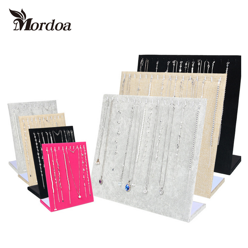 Mordoa More Style New Item Gray/Black/Rose Red/Linen Velvet Material Necklace Display Plate L Pendant Rack Jewelry Display Stand