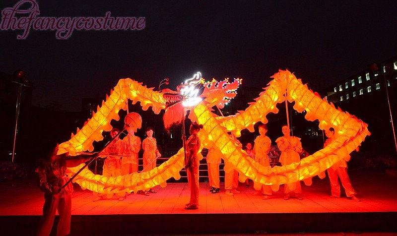 Adult Size Illuminant CHINESE DRAGON DANCE Cloth Dragon Prop Folk Festival Celebration Costume Adult Play Loong Lantern