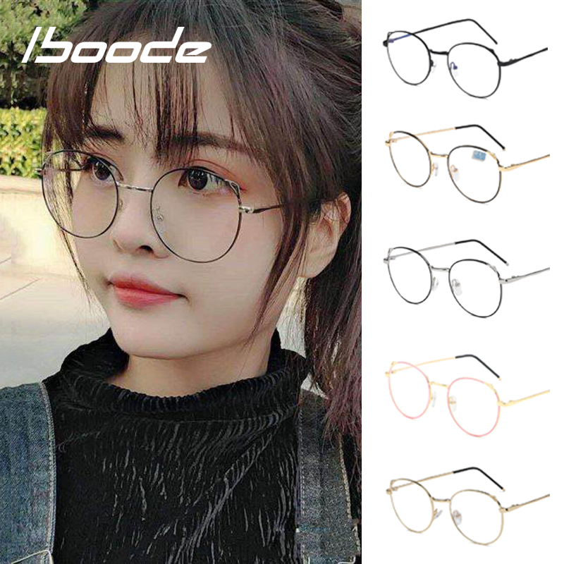 Iboode Reading Glasses Women Men Anti Blue Light Ray Glasses Cat Ear Metal Frame Spectacle Optical Eyewear Diopter +1.0~4.0