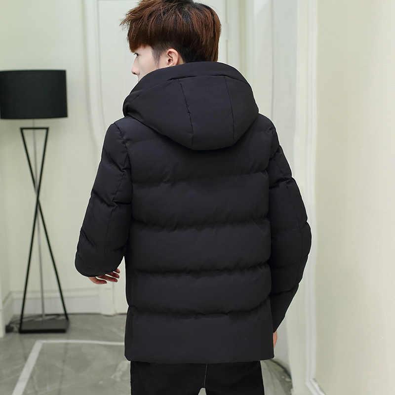2018 ChoynSunday wiatrówki wyściełane płaszcz codzienna odzież wierzchnia moda kurtki z kapturem gorąca sprzedaż gruby ciepły jednolity kolor mężczyzna płaszcz