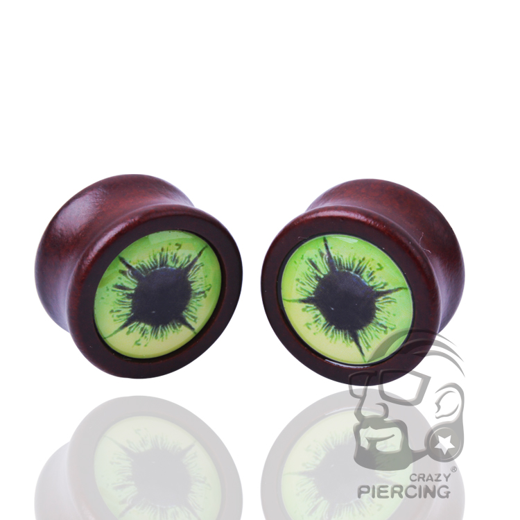 1 Pair Organic Body Jewelry Green Eye Double Flare Ear Plug Wood Gauge Tunnel Flesh Expander Piercing In From Accessories On