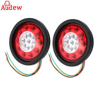 2Pcs 12V 24V Round Yellow Red 19 LED Truck Trailer Lorry Brake Stop Turn Tail Light