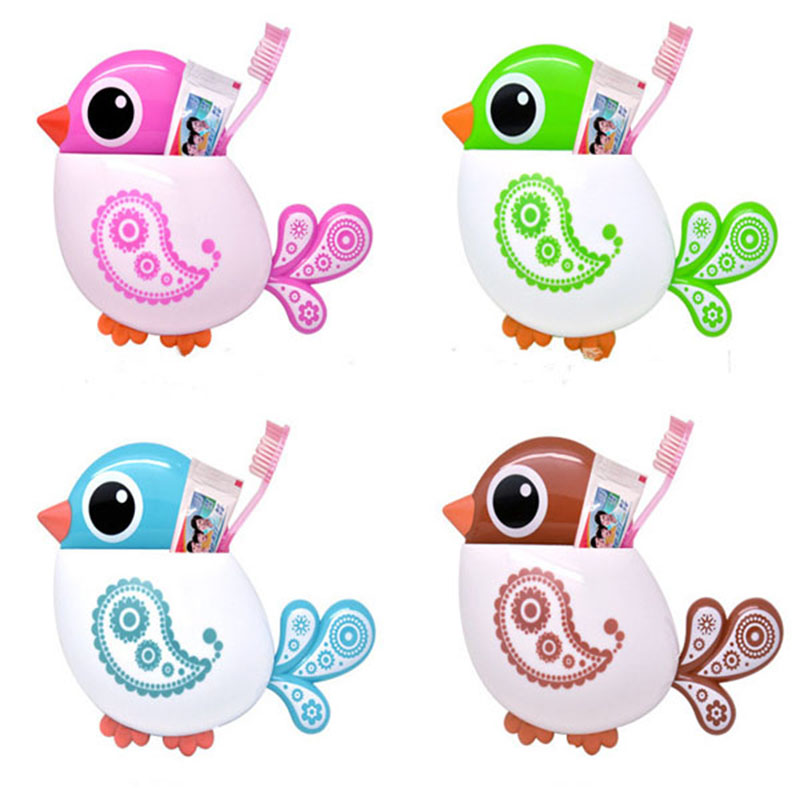 1pc New Lovely Funny Attractive Bird Pattern Tooth Brush Holder 4color Choice Rose Red Green Blue Coffee Color