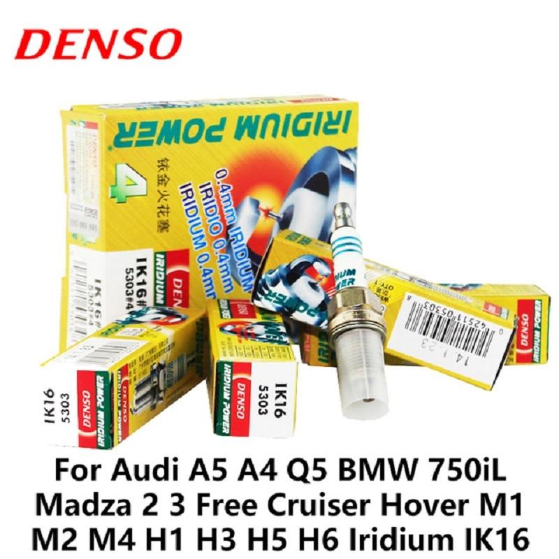 4 шт./компл. DENSO автомобиль свечи зажигания для Audi A5 A4 Q5 BMW 750iL Madza 2 3 Бесплатная Cruiser Hover M1 m2 M4 H1 Иридиум IK16 свечей зажигания