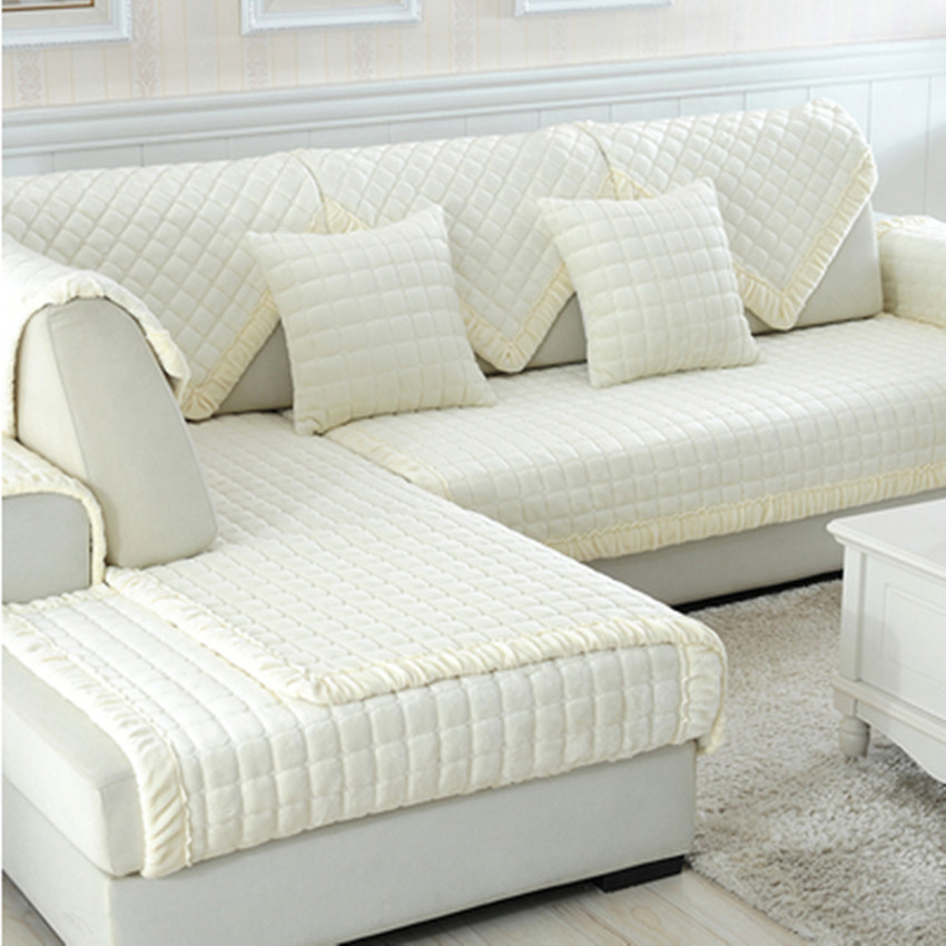 Us 14 20 Off White Grey Plaid Sofa Cover Plush Long Fur Slipcovers Fundas De Sectional Couch Covers In From Home