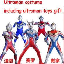 Fantasia criança bebê menino halloween traje cosplay macacão ultraman traje com ultraman brinquedos presente