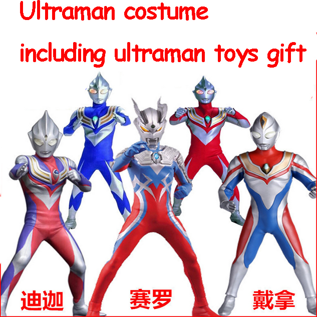 New Fantasia Child Baby Boy Halloween Costume Cosplay  Jumpsuit Ultraman Costume With Ultraman Toys Gift