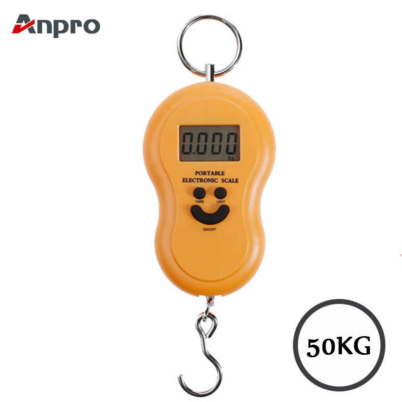 Anpro 50Kg Mini Digital Scale For Fishing Luggage Travel Weighting kitchen Steelyard Hanging Electronic Hook Scale KG/LBS/JIN/OZ