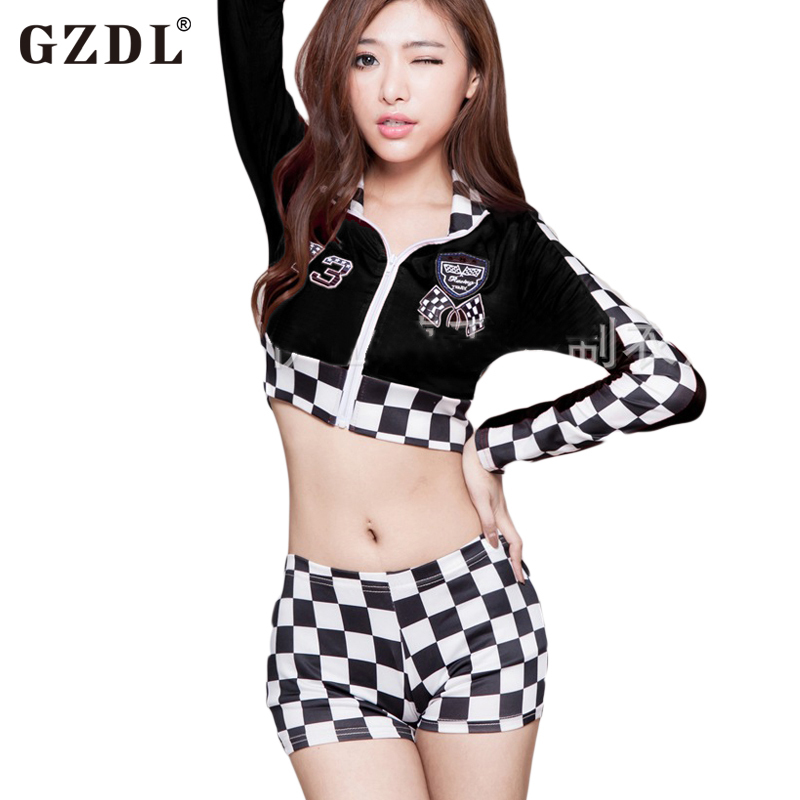 GZDL Casual Women's Sexy Lingerie Hot Sleepwear Suit Long Sleeve Crop Tops Plaid Shorts Costumes Nightwear Uniform Suits SY4082