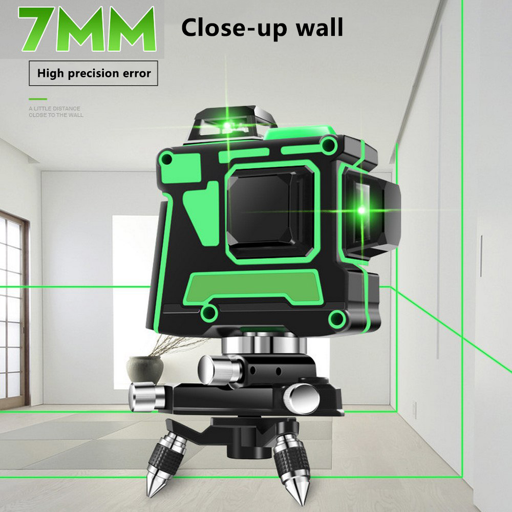 3D 12 Lines Green Laser Level with Wall Bracket 360 Degree Adjust Base Laser Beam Line Horizontal Vertical Cross Laser Lines