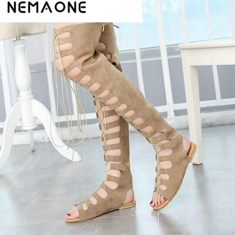 NEMAONE 2017 nouvelle mode gladiateur femmes bottes d'été chaussures plates pour femme sexy genou bottes en cuir chaussures femme décontractées chaussures d'été