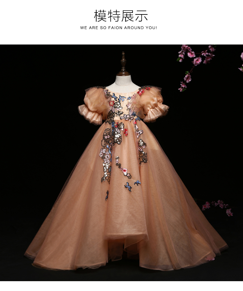 luxury children girl bubble embroidery court long gown princess dress studio stage performance fairy cosplay wonderland