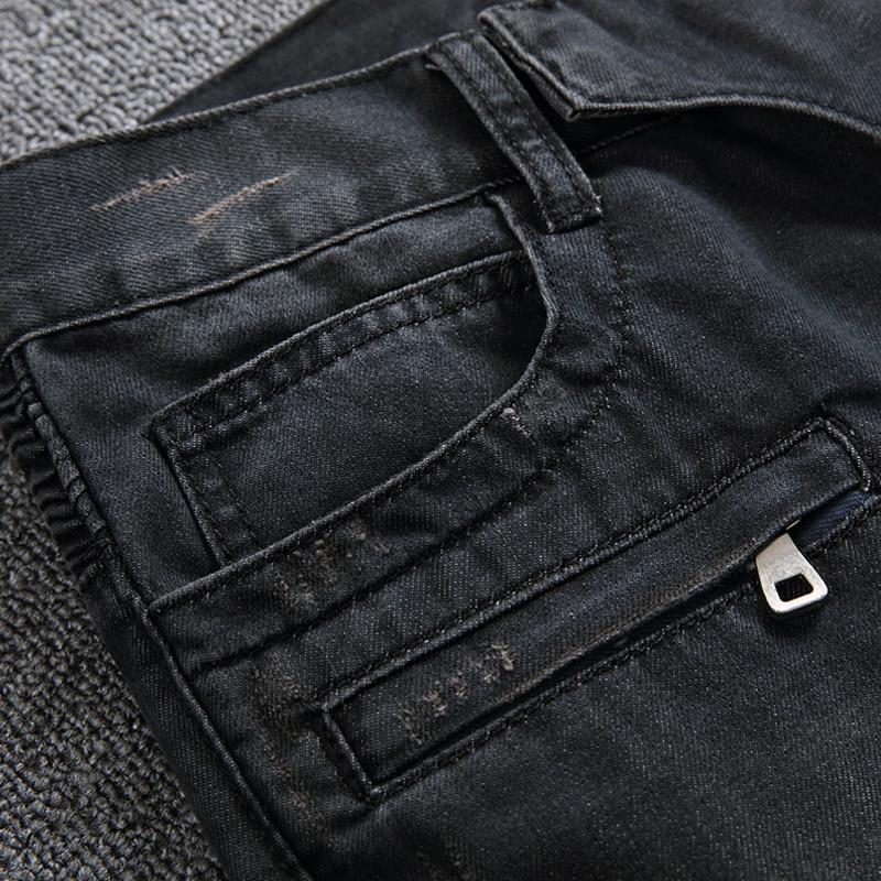 Meeste moelooja disainer Ripped Biker Jeans Mehed Distressed Moto - Meeste riided - Foto 5