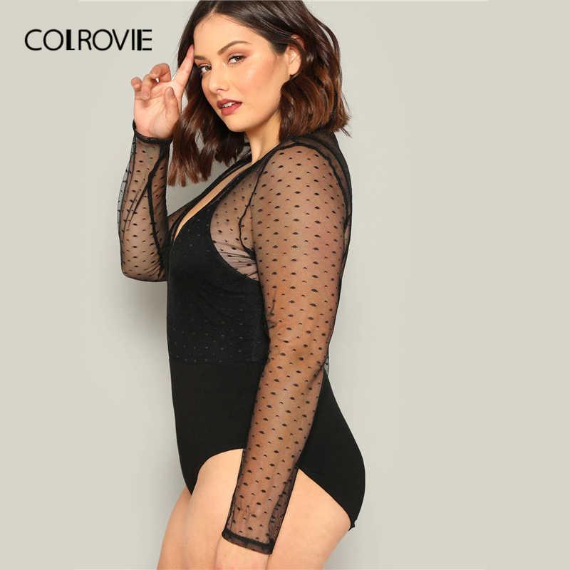 COLROVIE/большие размеры, черное, v-образный вырез, контрастная сетка в горошек, элегантное боди для женщин 2019, весеннее, с длинным рукавом, эластичное, сексуальное, женские боди