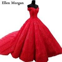 Red Lace Ball Gowns Wedding Dresses 2018 Vestido De Noiva Floor Length Court Train Lace Up