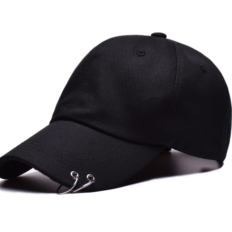 Fashion Unisex Solid Color Iron Ring   Baseball     Cap   Women Men Two Ring Snapback Hat Male Female Cotton Adjustable   Caps   CP0022