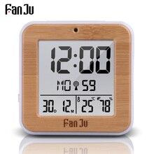 FanJu FJ3533 דיגיטלי שעון מעורר LED טמפרטורת לחות כפולה מעורר אוטומטי תאורה אחורית נודניק תאריך מדחום שולחן עבודה שולחן שעון