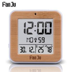 Image 1 - FanJu FJ3533 cyfrowy zegar z budzikiem led temperatura wilgotność podwójny Alarm automatyczne podświetlenie drzemka data termometr zegar na pulpicie