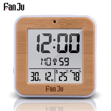 Цифровой будильник FanJu FJ3533, настольные светодиодсветодиодный часы с функцией повтора, термометра, влажности, двойной будильник, с автоматической подсветкой