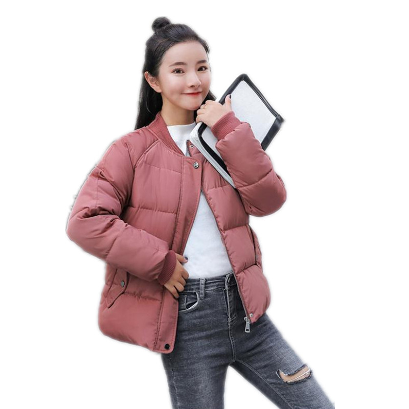 Women Short Winter Jackets 2018Fashion Korean Style Down Cotton Jacket Loose Women   Parkas   Long Sleeve Outerwear Casual TopCQ2281