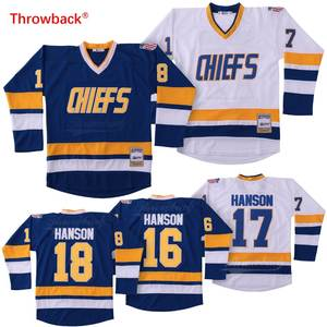 Throwback Jersey Men s Ice Hockey Jersey  16  17  18 Hanson Brothers  Charlestown Chiefs Slap Shot Movie White Blue Cheap 7fb48606d
