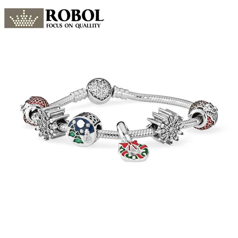 ROBOL 2017 NEWEST 100% 925 Sterling Silver Hand catenary suit Clear CZ Charm Bead ESSENCE Bracelets DIY For Women Jewelry a suit of cute rhinestone elephants alloy bracelets for women