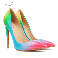 2019 new listing pointed high heeled with rainbow color fashion Europe and the United States single shoes high heels Women Pupms