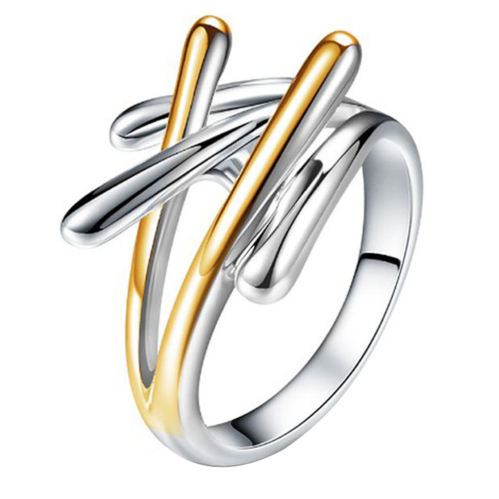 New Fashion Jewelry Gold & Silver Color Cross Rings For Women Size 6 7 8 9 Female Party Finger Ring