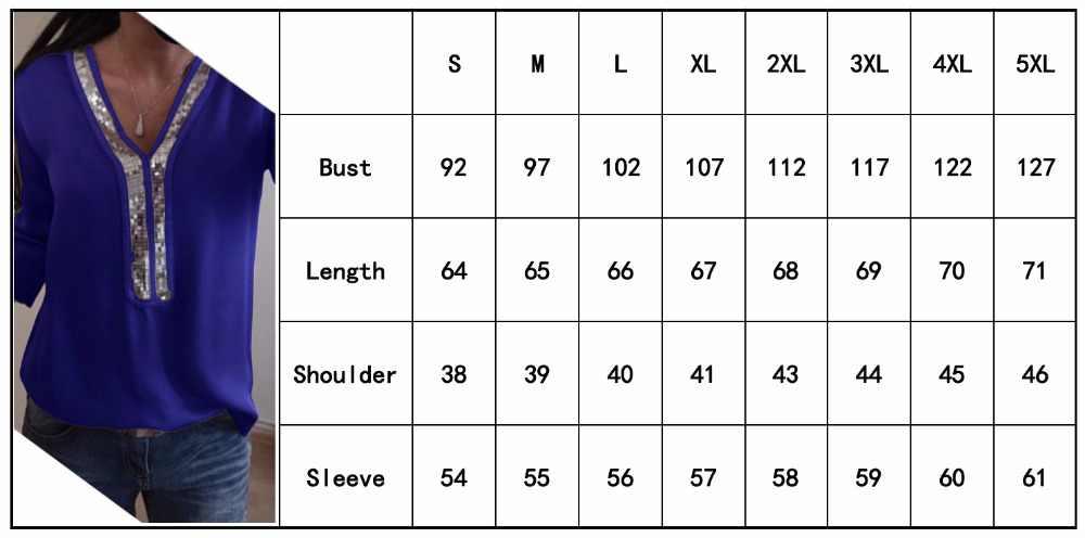 S-5XL модная женская шифоновая рубашка Лето 2019 с длинным рукавом, Сексуальная рубашка с v-образным вырезом, свободная женская одежда больших размеров, летние топы