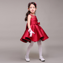 Dark Red Taffeta Little Girl Dress With Bow Round Neck Short Kids Formal Gown For