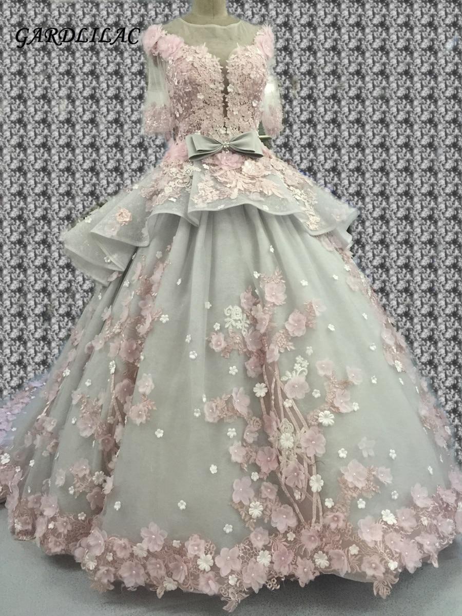 Новое роскошное бальное платье Quinceanera Платья 2019 с половиной рукава Sweeth 16 Платья с цветочным длинным выпускным платьем на 15 лет