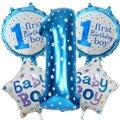 5 шт./компл., Детские воздушные шары, цифровые 1 гелиевые шары из фольги, для девочек, мальчиков, украшения для 1-го дня рождения