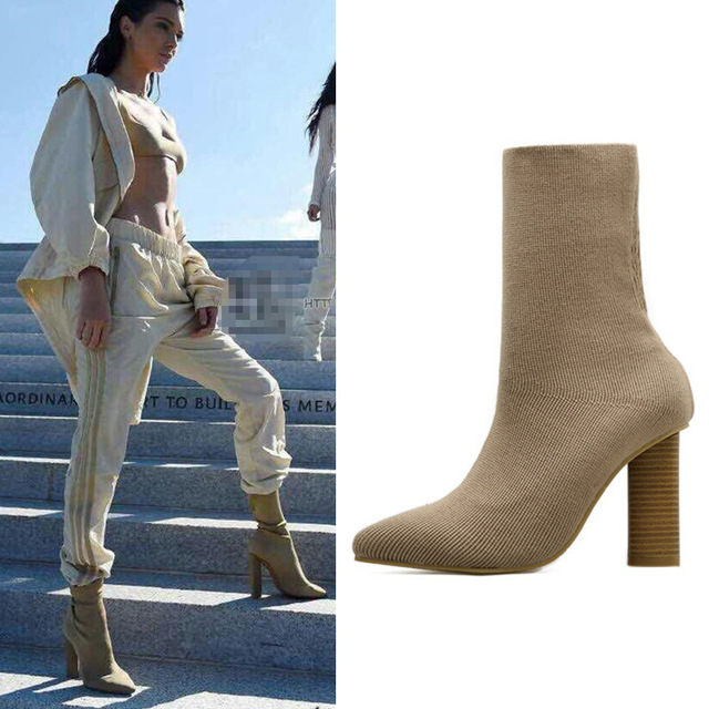 Sock boots woman stretch fabric designer sock botas mid high boots slim pointed  toe high heels
