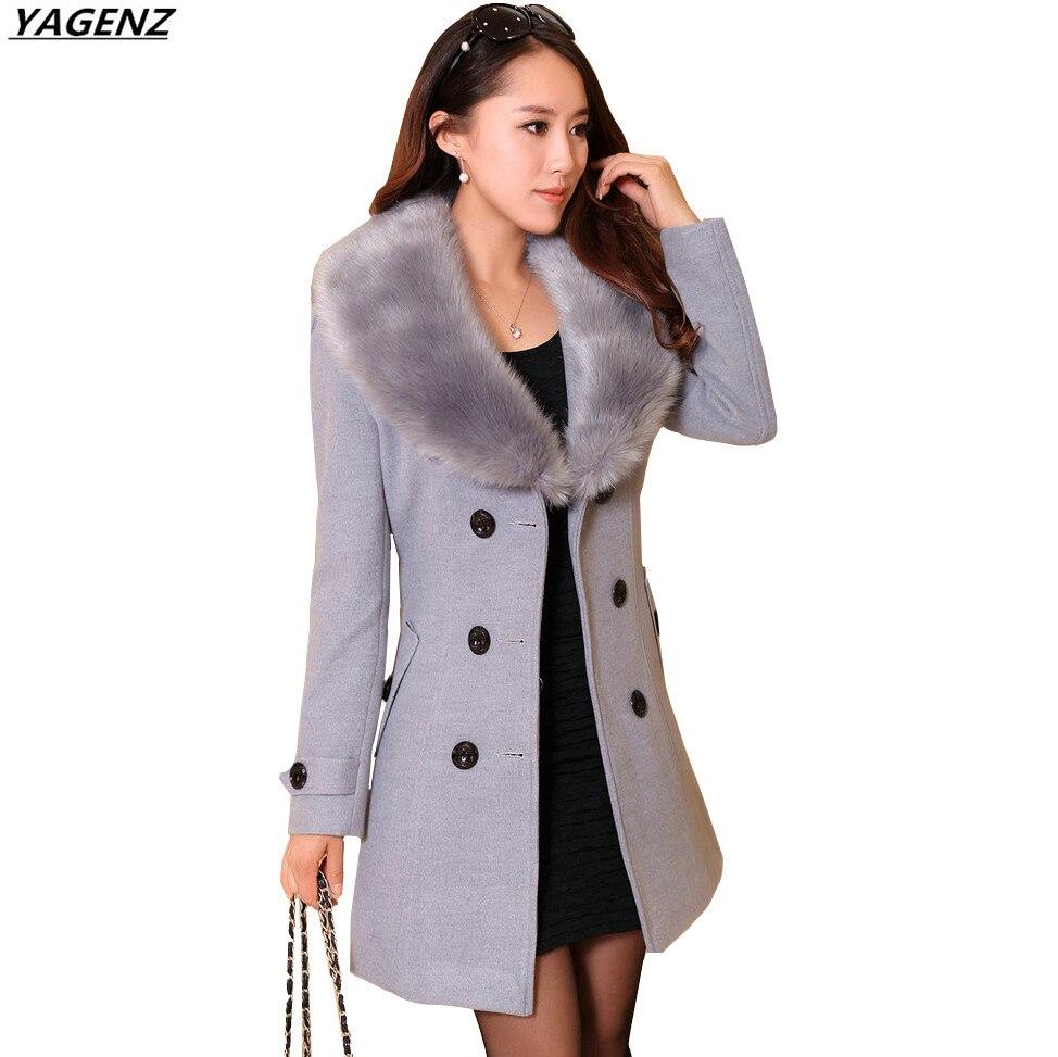 Winter Woolen Coat Women 2017 New Fashion Big Fur Collar Woolen Coat Female Windbreaker Plus Size 5XL Female Basic Coat YAGENZ