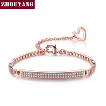 ZHOUYANG Bracelet For Women Cooper Micro Pave Cubic Zirconia Box Chain Rose Gold Color Fashion Jewelry Christmas Gift ZYH172(China)