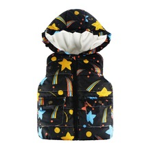 2017 New 2-7Y Winter&Autumn Casual Hooded Outerwear Jackets For Girls Boys Waistcoat Star Rainbow Print Vest Coat Kids Clothing