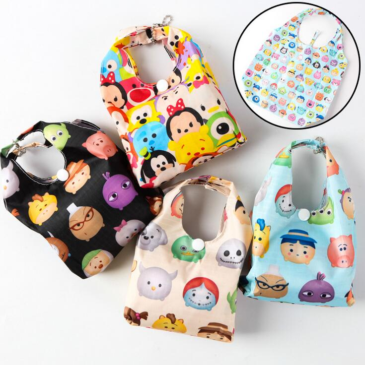 tsum Mickey Minnie Cartoon convenient Foldable bag Casual Environmental protection pouch