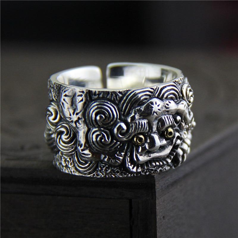 Pur argent 925 Sterling Thai argent Vintage taille ouverte anneau réglable mythique Animal sauvage doigt S925 anneau