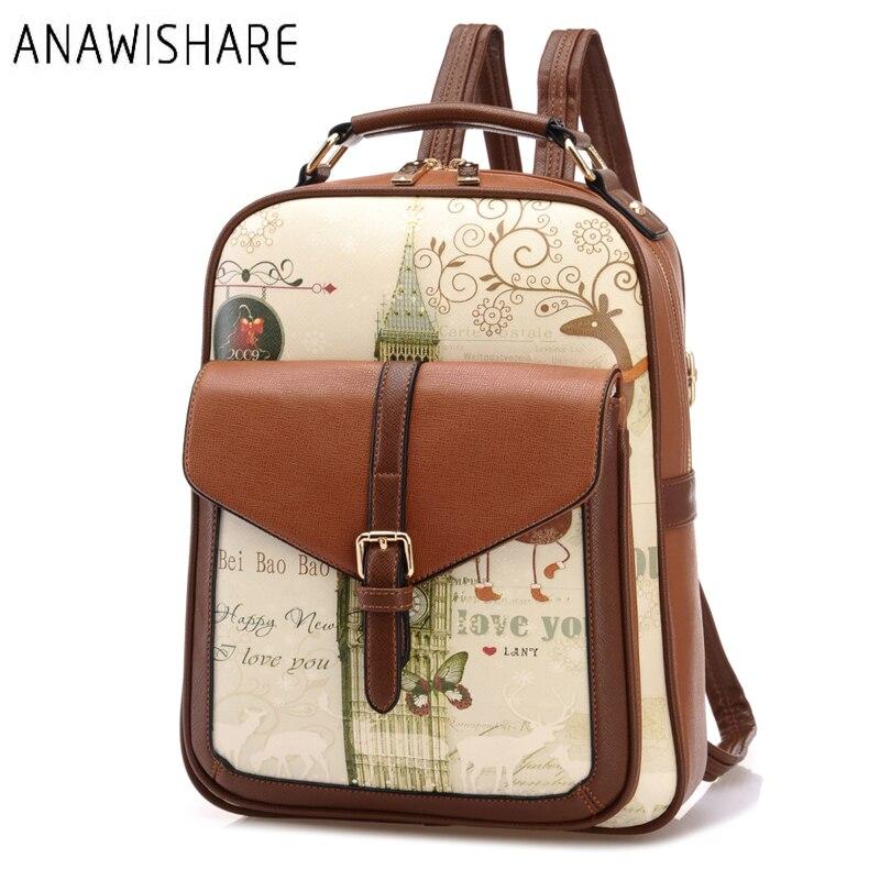 Anawishare Women Leather Backpacks Print School Bags For Teenagers Girls Laptop Backpacks Waterproof Travel Bag Mochila Feminina