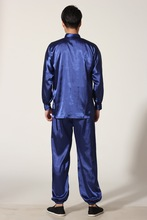 New Chinese Traditional Men's Satin Rayon Kung Fu Suit Vintage Long Sleeve Tai Chi Wushu Uniform Clothing M L XL XXL 3XL L070627