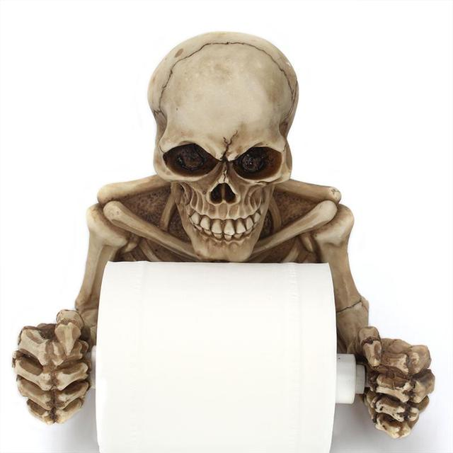 Resin Skeleton Decorative Toilet Paper Holder Halloween Bathroom Decor Wall Mount Paper Storage Bathroom Organizer 2