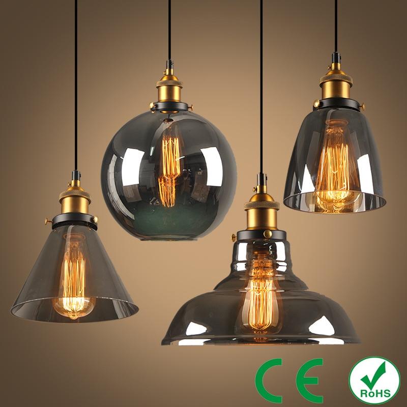 Lampes suspendues Vintage lampes suspendues en verre Loft lampe à suspension à vent industriel Smoky gris lampe De Techo Colgante E27