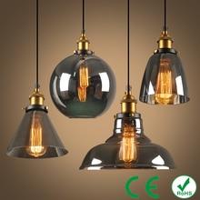 Vintage pendant light copper glass restaurant single vintage retractable wall lamp american style