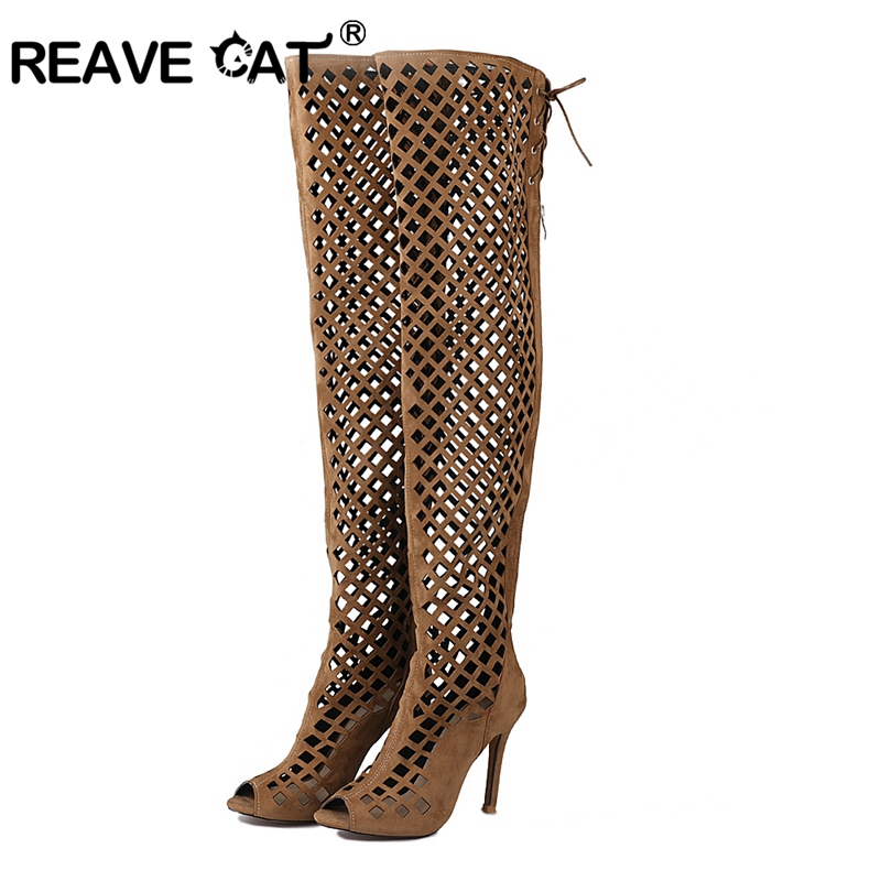 REAVE CAT 2018 Brand Women Summer boots Over the knee boots Cross tied Zipper Openwork Thin