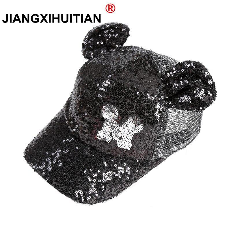 75908652281 10 peças Glitter Ear Chapéus adorável meninas Snapback Boné De Beisebol Com  Orelhas Chapéus Engraçados Verão