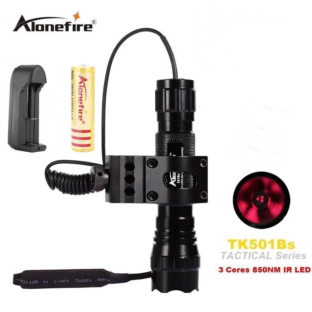AloneFire 501Bs New Waterproof Function 850nm IR Infrared LED Flashlight Torch for Night Vision Camera and Camcorder for 18650