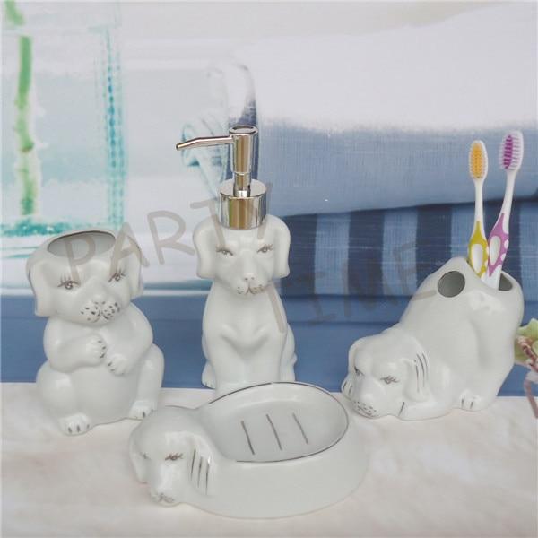 Ensemble de salle de bains en forme d'animal en céramique, bouteille de lotion en forme de chien, porte-savon