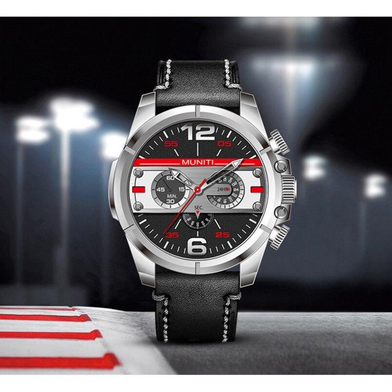 MUNITI Big Watches Men Wristwatch Noctilucent Watch Brown Leather Strap Sport Business Wristwatch Personality Mens Quartz Watch